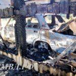 Сгорел гараж и авто — видео